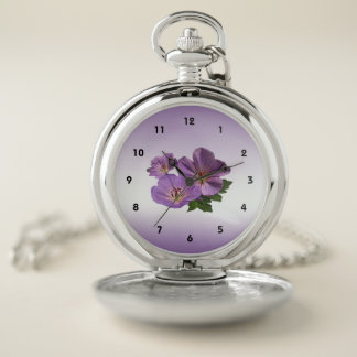 El jardín púrpura floral florece el reloj de