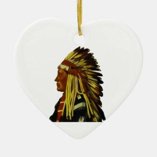 El jefe adorno navideño de cerámica en forma de corazón