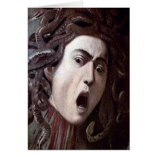 El jefe de la medusa de Miguel Ángel Caravaggio Tarjeta De Felicitación