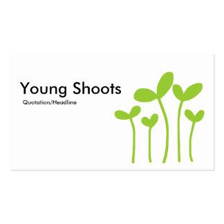 El joven tira v2 - negro, blanco y verde de tarjetas de visita
