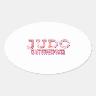 El judo es mi superpotencia calcomania ovalada