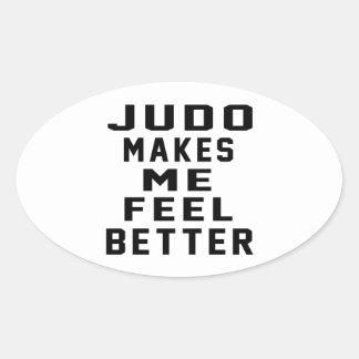 El judo hace que siente mejor calcomanía ovalada