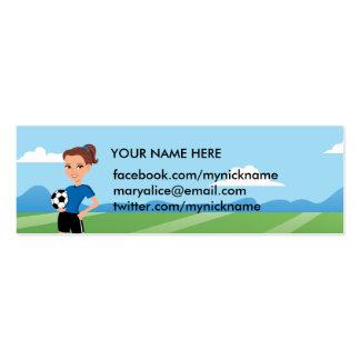 El jugador de fútbol del chica personalizado tarjetas de negocios