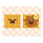 ¡el kawaii waffles desayuno de la buena mañana! postal