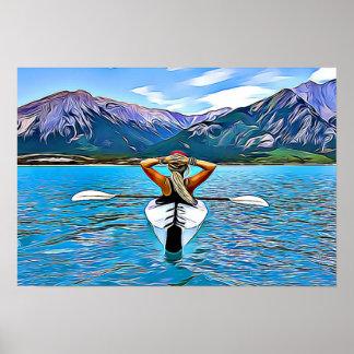 El Kayaking en el océano por el poster de las Póster