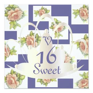 """El """"La compite"""" el dulce subió En dieciséis Invit. Invitación 13,3 Cm X 13,3cm"""