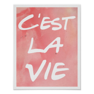 Poster C'est La Vie escrito a mano