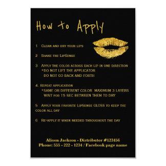 El labio colorea instrucciones del uso del invitación 8,9 x 12,7 cm