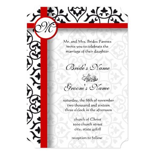 El lado elegante del damasco confina el boda de la invitación 12,7 x 17,8 cm