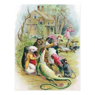 El lagarto enfermo toma su medicina tarjetas postales