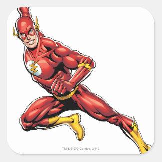El lanzarse del flash pegatina cuadrada