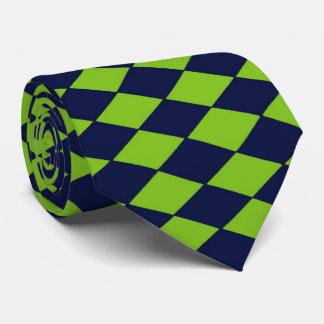 El lazo retro de los diamantes del verde y de la corbatas personalizadas