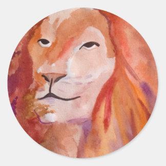 El león (arte de Kimberly Turnbull) Pegatina Redonda