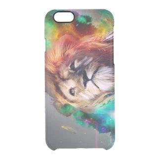 El león colorido que mira para arriba empluma el funda transparente para iPhone 6/6S
