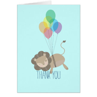 El león con los globos le agradece tarjeta pequeña