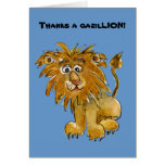 El león del dibujo animado le agradece las tarjeta