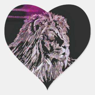 El león pegatina en forma de corazón
