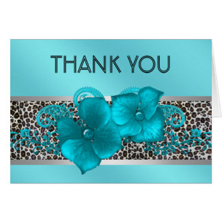 El leopardo azul verde azulado negro le agradece tarjeta pequeña