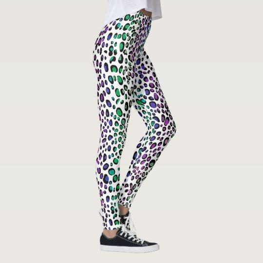 El leopardo colorido mancha las polainas del leggings
