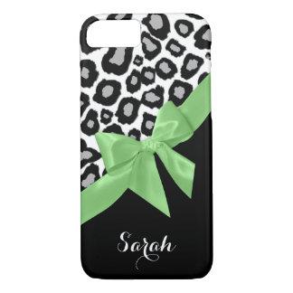El leopardo mancha el arco del verde de la funda iPhone 7