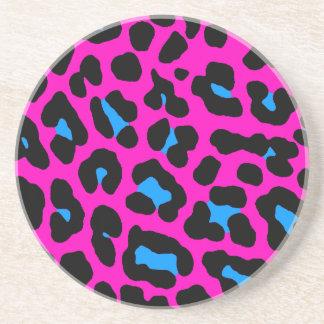 El leopardo retro del tigre 80s de Corey mancha el Posavasos Para Bebidas