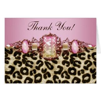 El leopardo rosado elegante le agradece las tarjeta de felicitación