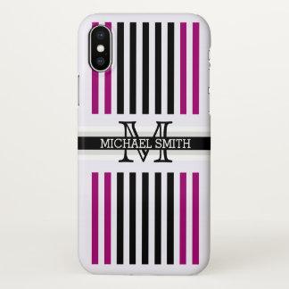 El ligón negro moderno del monograma raya el funda para iPhone x