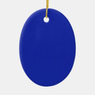 El llano en blanco azul DIY añade imagen de la Adorno Navideño Ovalado De Cerámica
