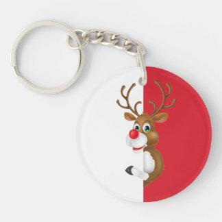 El llavero rojo del navidad del reno de la nariz