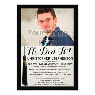Él lo hizo graduación de encargo de la universidad invitación 12,7 x 17,8 cm