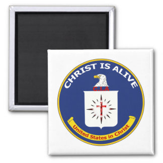 """El logotipo Cia """"Cristo está vivo """" Imán Cuadrado"""