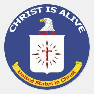 "El logotipo Cia ""Cristo está vivo "" Pegatina Redonda"