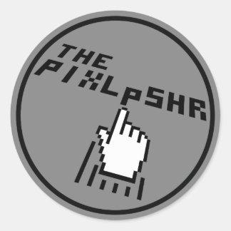 El logotipo de PixlPshr Pegatina Redonda