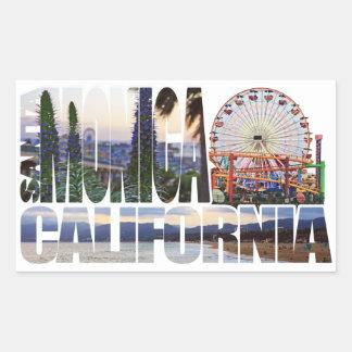 El logotipo de Santa Mónica florece la playa del Pegatina Rectangular