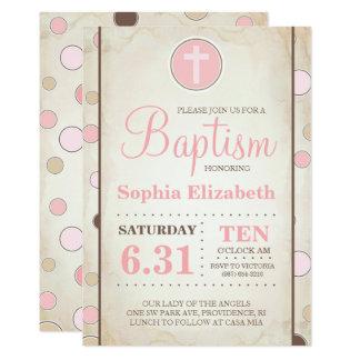 El lunar rosado del bautismo invita - a la niña invitación 12,7 x 17,8 cm