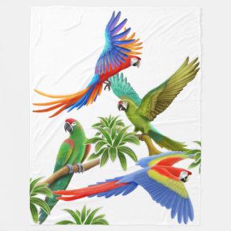 El Macaw tropical repite mecánicamente la manta