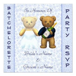 El macho azul de los osos de peluche del fiesta de invitación 13,3 cm x 13,3cm
