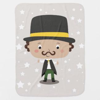 El mago del bebé con un bigote del gorra mantita para bebé