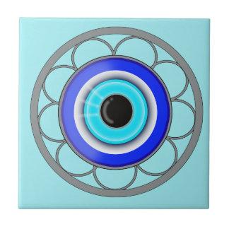 El mal de ojo azul rechaza energía negativa - azulejo de cerámica