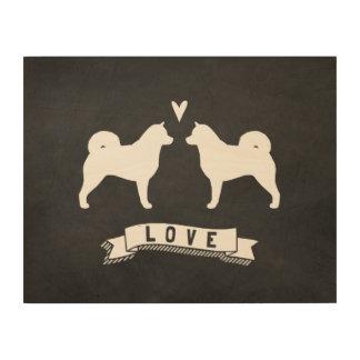 El Malamute de Alaska siluetea amor Impresión En Madera