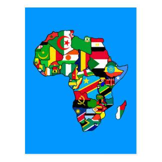 El mapa africano de las banderas de África dentro Postal
