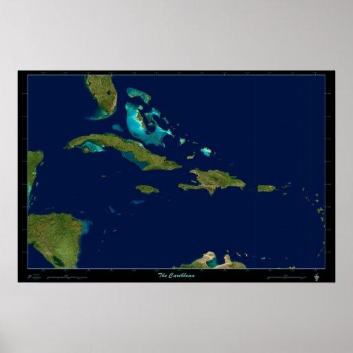 El mapa de foto por satélite del Caribe del poster
