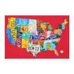 El mapa de la placa de los E.E.U.U. envolvió rojo  Impresiones De Lienzo