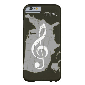 El mapa de los E.E.U.U. con un clef agudo Funda De iPhone 6 Barely There