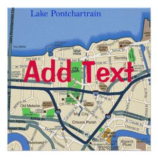 El mapa de New Orleans corrige el texto fiesta Anuncios Personalizados