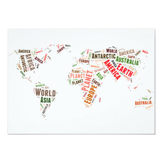 El mapa del mundo redacta la nube invitación 12,7 x 17,8 cm