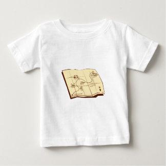 El mapa del rastro con X marca el grabar en madera Camiseta De Bebé