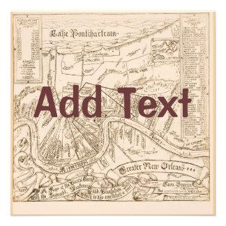 El mapa viejo de New Orleans corrige el texto fie Anuncio Personalizado