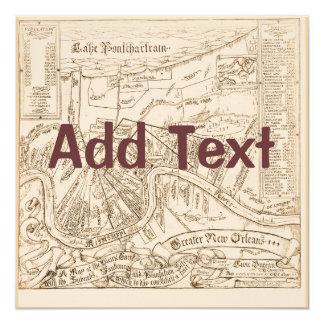 El mapa viejo de New Orleans corrige el texto, Invitación 13,3 Cm X 13,3cm