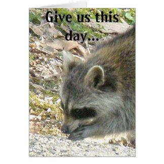 El mapache nos da este día… Tarjeta de nota